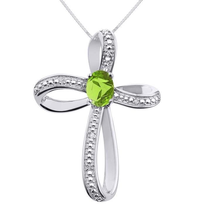 Pendentif Vendu Seul Women's Diamond & Peridot Cross Pendant Necklace Set In Sterling Silver .925 E1EEO