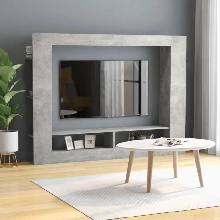 XIXI Meuble TV Gris béton 152x22x113 cm Aggloméré