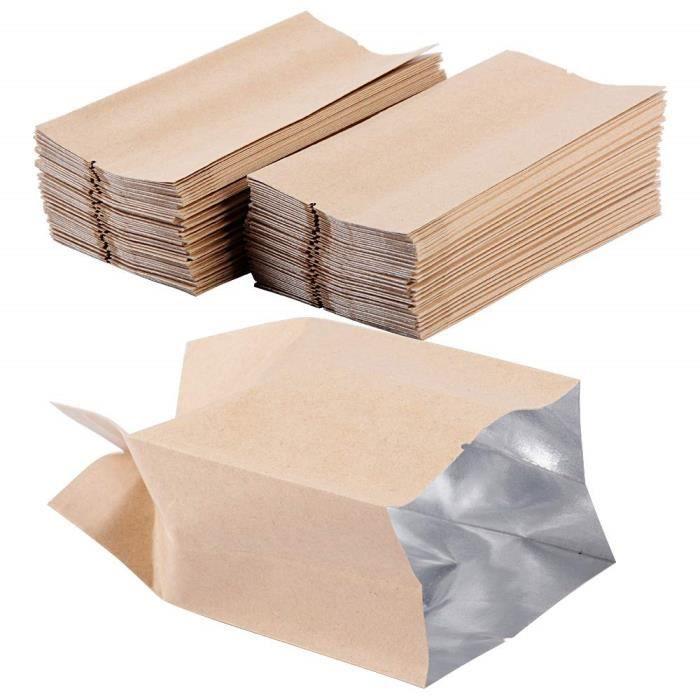 100pcs Sac Sachets en Kraft Papier 7 X 13cm avec Fermeture Zip Vintage pour Semences ou Bonbons