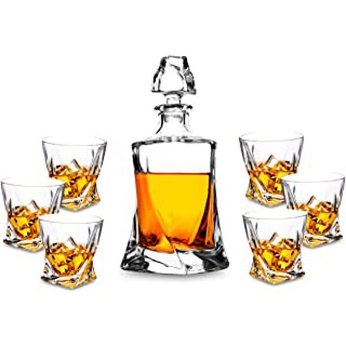 Carafe Whisky, 800Ml Bouteille Avec 6X 300Ml Verre À Whiskey, Décanter Cristal, Belle Boîte Cadea, 7 Pièces