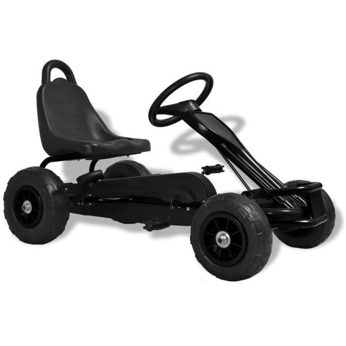Vélo et véhicule Karting Go-Kart à pédales cadeau enfant noel - Convient pour 3 à 8 anss avec pneus Noir