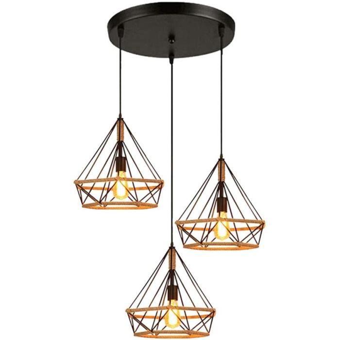 LUSTRE - SUSPENSION Mengjay E27 Lampe de Plafond r&eacutetro vintage Plafonnier Industrielle Cage en forme Diamant en M&eacute284