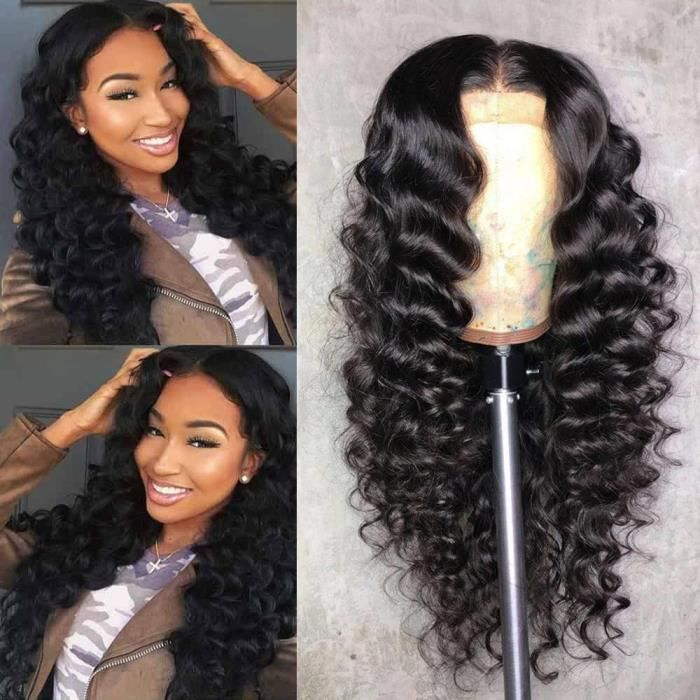 LUCKFEN 14 - Perruque Bresilien 360 Lace Wig ne ChevePerruque Bresilienne Cheveux Humains Vierge Naturel 360 Lace Wig Loose Wave