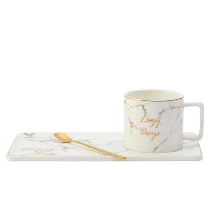 Service à café avec soucoupes,Tasse à café en céramique de modèle de marbre avec le service de plat de casse - Type White set