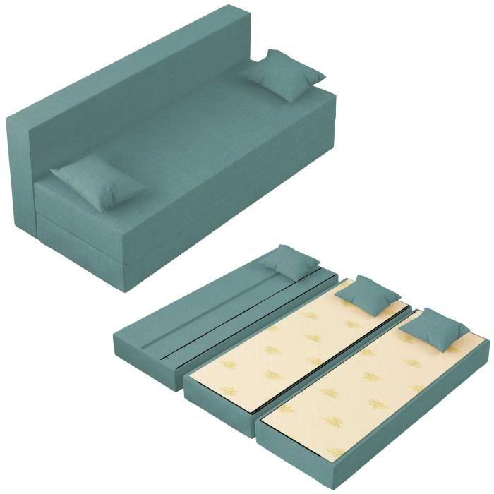Canapé Lit Tetris Convertible Modulable Réversible 3 places - Tissu dehoussable et lavable Couleur AigueMarine