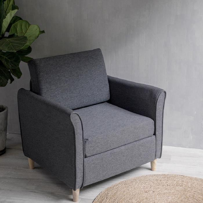 Laxllent Canapé Simple,80x71x81cm,Gris,Surface en Tissu Imitation Lin, Pieds en Bois,Montage Facile, Canapé 1 Place pour Appartement