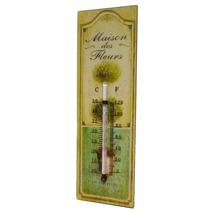 Thermomètre Mural ou à Poser Décoratif en Celsius et Farenheit Motif -Floral- en Fer et Papier Vernis 0,5x8x25cm Multicolore