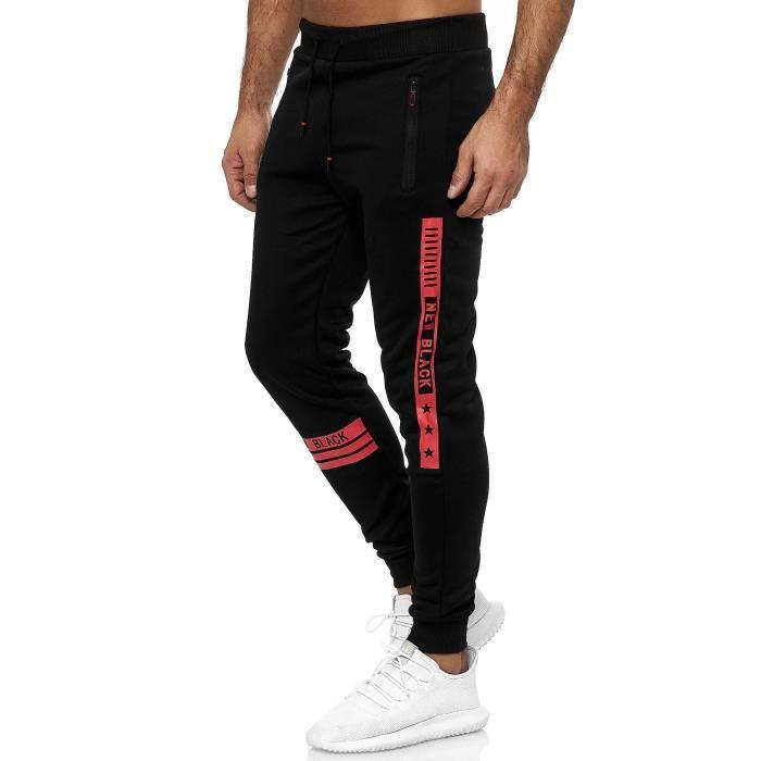 Pantalon de survêtement pour homme à rayures Pantalon de sport [Rouge, L]