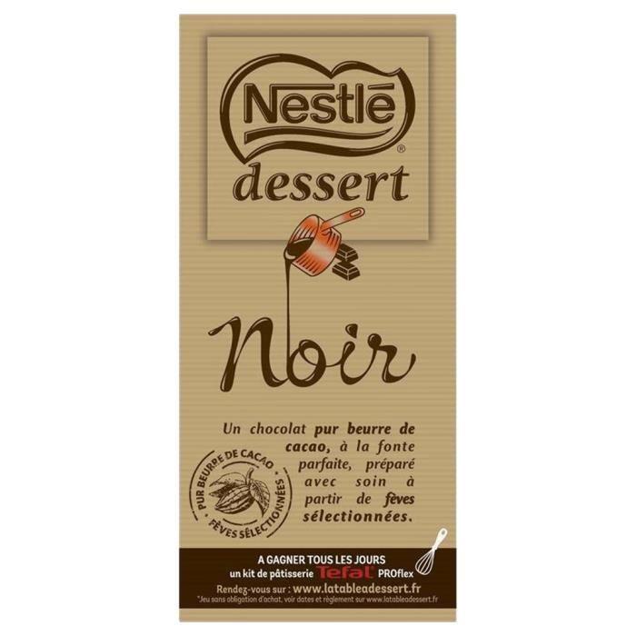 Nestlé Dessert Tablette Chocolat Noir 205g (lot de 10 x 3 tablettess)
