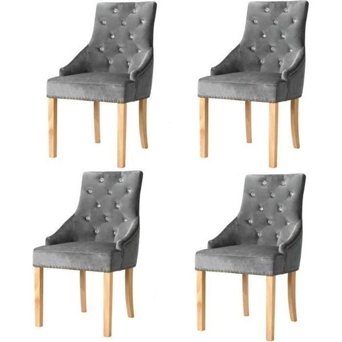 Lot de 4 Chaises de Salle à Manger Scandinave Design Argenté Chêne massif et velours