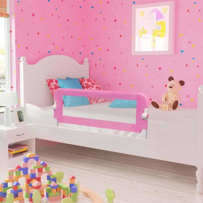 Barrière de sécurité de lit d'enfant Rose 120x42 cm Polyester