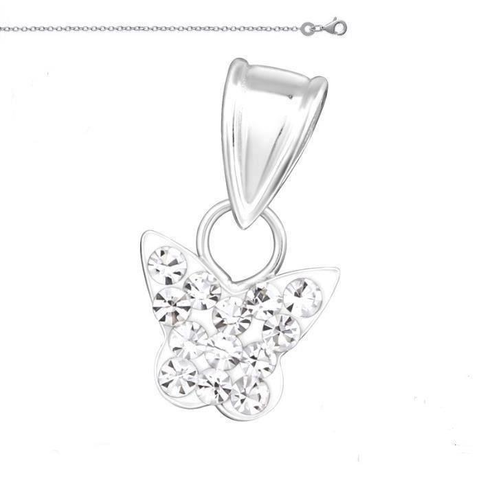 Collier Chaîne et Pendentif Papillon Cristal Swarovski © Blanc Argent Massif 925