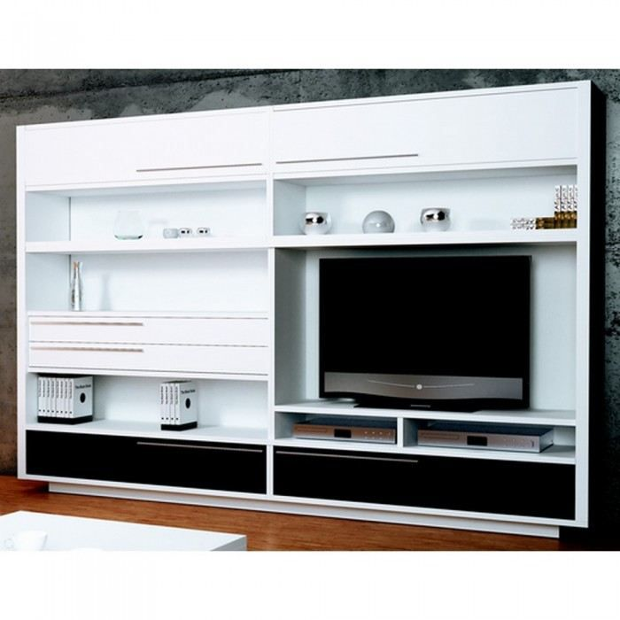 Meuble tv mural big white drawer mati re m lami achat vente meuble tv meuble tv mural big - Meuble tv mural cdiscount ...