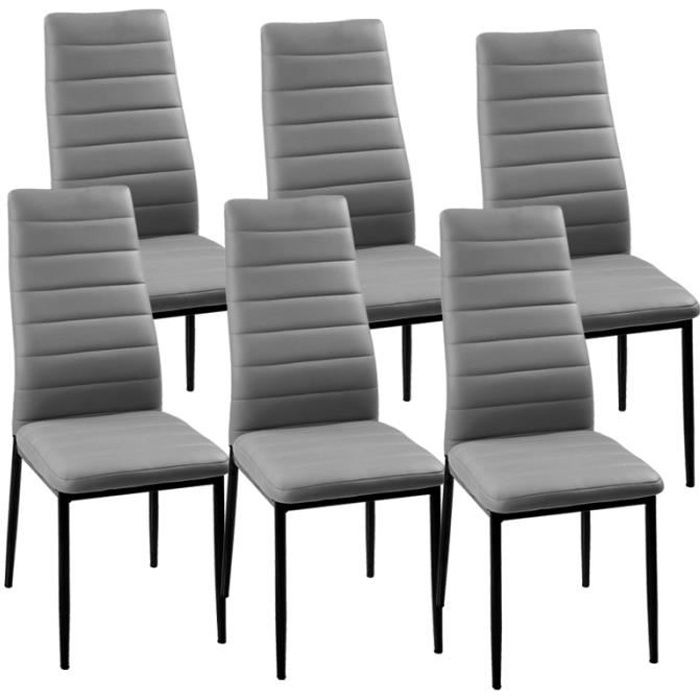 lot de 6 chaises gris iris achat vente chaise gris. Black Bedroom Furniture Sets. Home Design Ideas