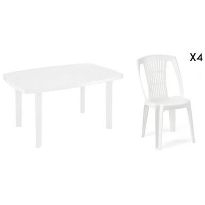 Table rectangulaire blanche 4 chaises jardin plastique - Table de jardin plastique blanc ...