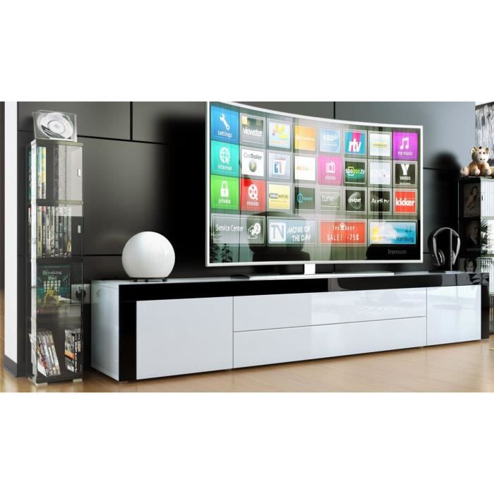 meuble bas pour tv blanc blanc noir achat vente meuble tv meuble bas pour tv blanc. Black Bedroom Furniture Sets. Home Design Ideas
