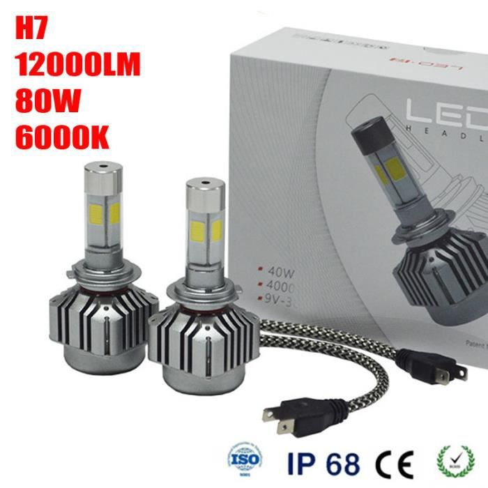 kit de phare 80w 12000lm h7 led conduire lampe turbo source lumineuse led 6000k achat vente. Black Bedroom Furniture Sets. Home Design Ideas