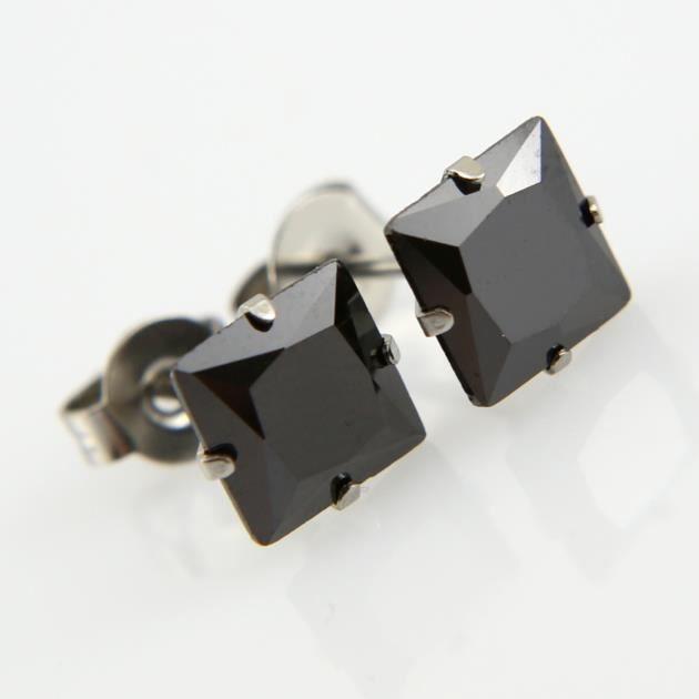 Paire boucles d/'oreilles acier pierre cz carre blanc transparent BOS40