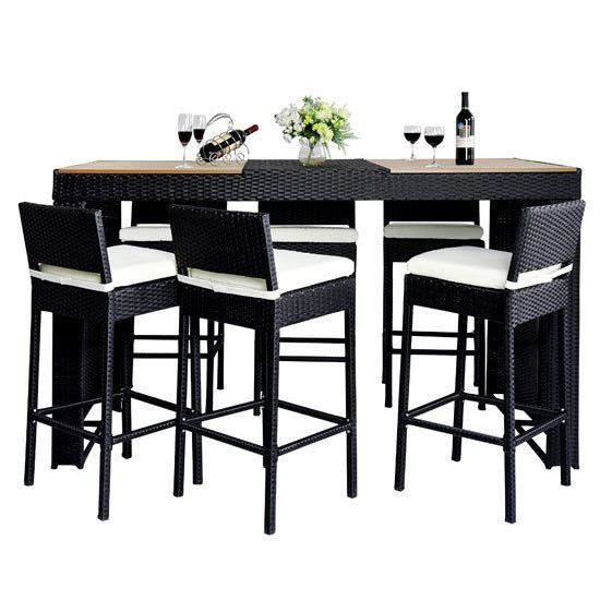 Salon bar de jardin noir en r sine tress e achat vente salon de jardin salon bar de jardin - Table salon de jardin resine tressee ...