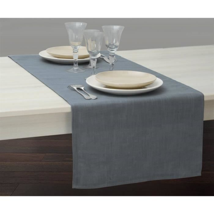 Vis vis aspect lin 50 x 140 cm anthracite achat vente chemin de table cdiscount - Chemin de table gris anthracite ...