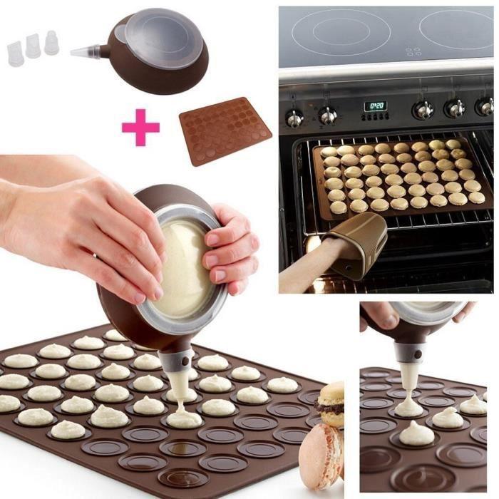 Cutogain Moule /à macarons en silicone pour cuisson de macarons tapis de casserole d/écoration de g/âteau douilles pour four muffin p/âtisserie