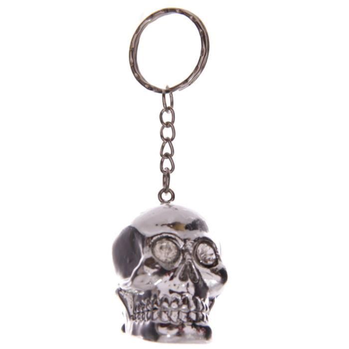 PORTE-CLÉS Porte clefs en resine en forme de Crâne argent