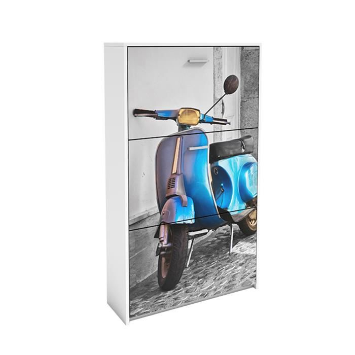 Commode chaussures motif scooter bleu avec 3 achat vente meuble cha - Commode a chaussures ...