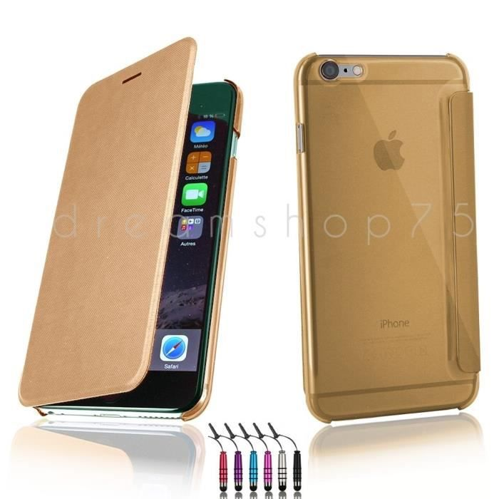Housse coque iphone 6 plus flip cover gold or for Housse iphone 5 c