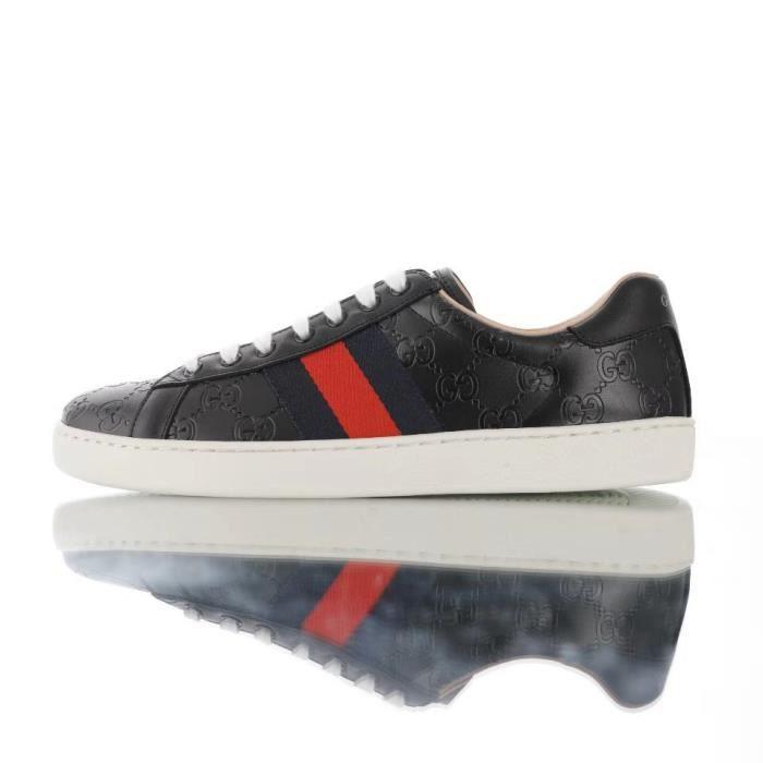 GUCCI Ace Embroidered Low-Top Homme Noir Cuir Sneaker Noir Noir - Achat /  Vente basket - Cdiscount