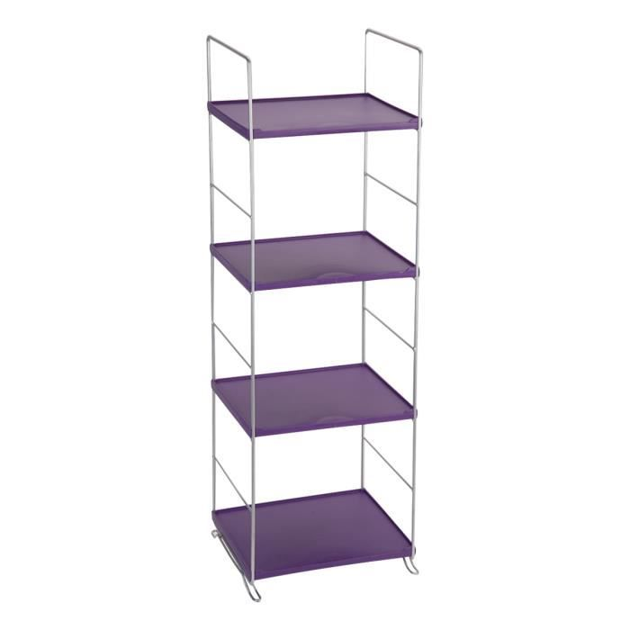 etag re 4 niveaux plastique violet achat vente biblioth que etag re 4 niveaux plastique. Black Bedroom Furniture Sets. Home Design Ideas