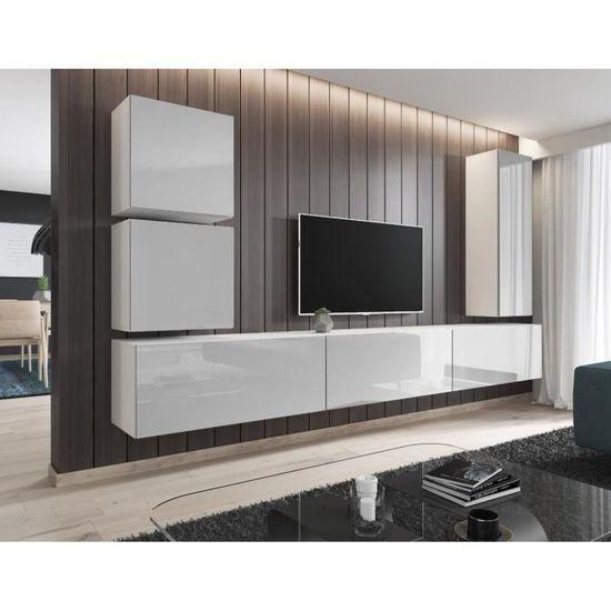 140cm Blanc Meuble TV Armoire Tele Table Television ZEUS E-com