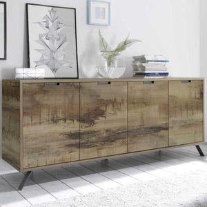 BUFFET - BAHUT  Buffet 4 portes Planches bois - PALERME - L 206 x
