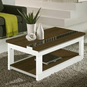TABLE BASSE Table basse relevable Chêne foncé/Bois Blanc - UPT