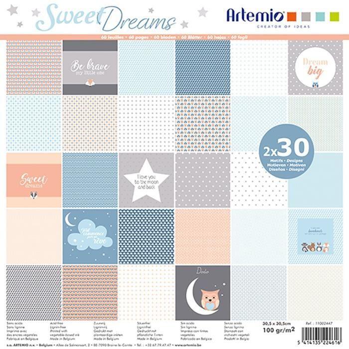 """Bloc de 60 feuilles de papier scrapbooking 30x30 cm """"Sweet Dreams"""" d'Artemio"""