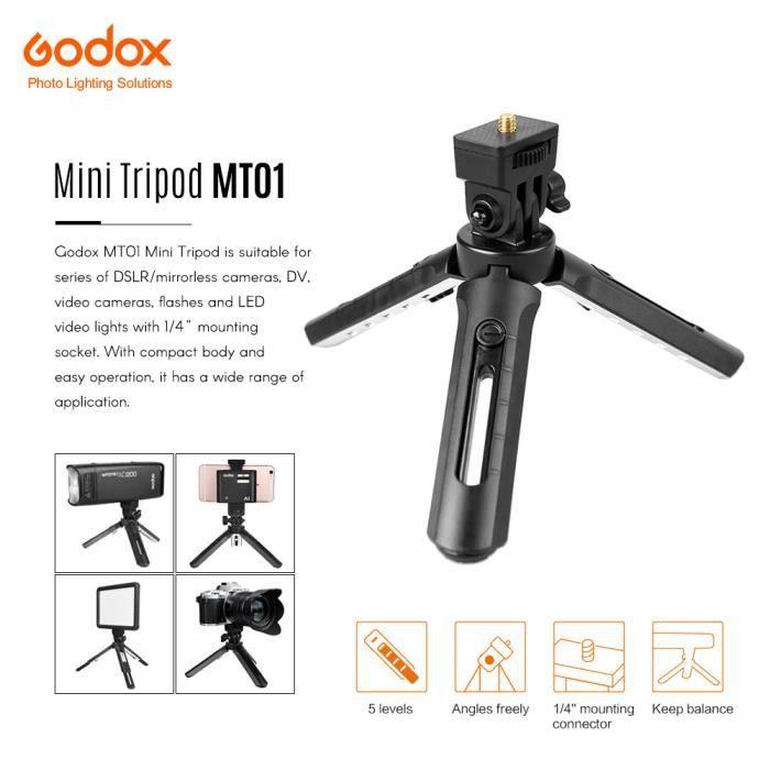 Godox MT01 Mini Trépied Pliable 1/4- Vis de fixation 5 Niveaux Réglable pour Godox AD200 Godox A1 Flash DSLR ect.