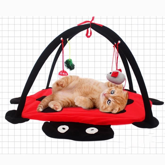Tapis de jeu et d'activité Tapis de jeu pour chat avec jouet Tente de jeu chaton Lit rembourré pour Chien
