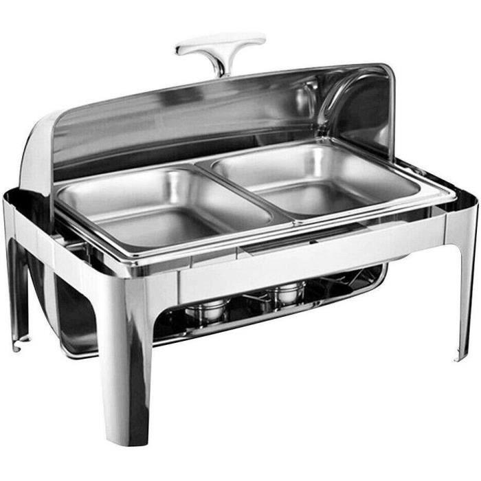 Chafing Dish Chauffe-Plat en Acier Inoxydable 9 litres Plat-réchaud Set Professionnel Buffets Chauffants pour Restaurant, Bar, Rende