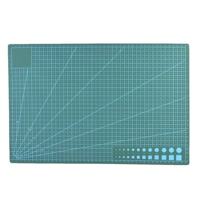 BOYOU A3 Tapis de Coupe de Lignes de Quadrillage en PVC Planche à Découper en Tissu de Cuir(Vert)