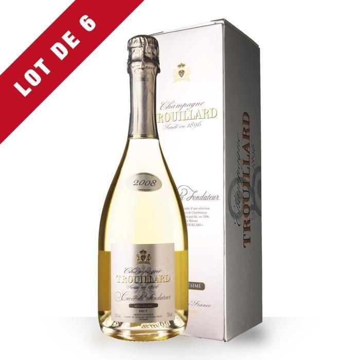 6X Trouillard Cuvée du Fondateur 2008 Brut 75cl - Etui - Champagne