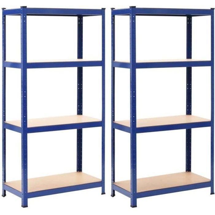 Lot de 2 Étagères de rangement - Meuble de Rangement Garage, Atelier - Bleu 80x40x160 cm Acier et MDF