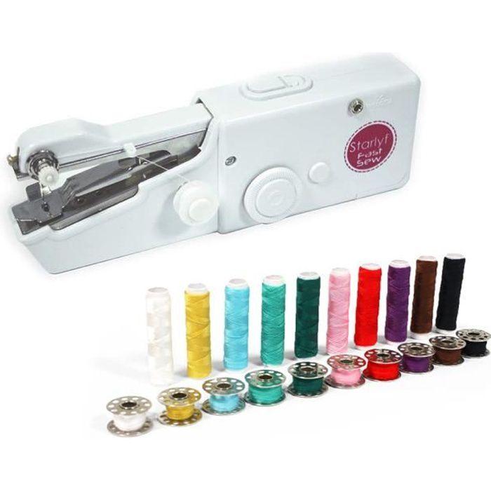 Starlyf Fast Sew – Machine à coudre sans fil Easy Retouche + Kit Bobines 20 pcs