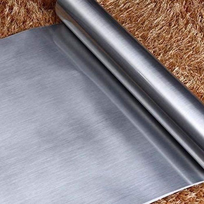 Carrelage Adhesif Mural 60X300Cm Brossé Argent Film Décoratif Moderne PVC Autocollant Adhérent pour Armoires De Cuisine Meubles Auto
