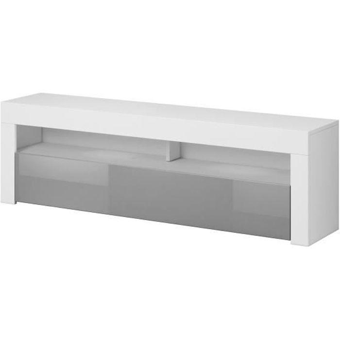 Meuble TV moderne / élégant Nuntak 2 blanc / gris brillant 140cm