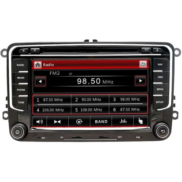Autoradio GPS Navigator Compatible pour Golf 7 Pouces Double Din HeadUnit 2 Din Car Stéréo avec DVD CD Player Support GPS USB[131]