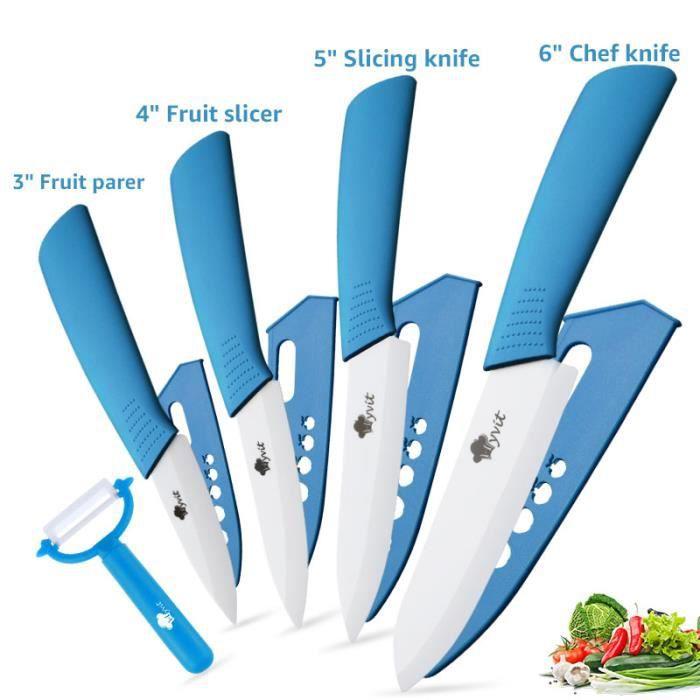 Couteau en céramique , Ensembles de couteaux de cuisine Couteaux chef pour Couper Fruits Légumes Viande 5pcs/Set bleu