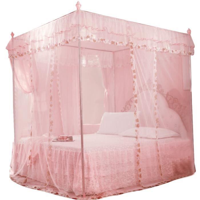 HURRISE Rideau de Lit Moustiquaire 3 Ouvertures Latérales Princesse Luxueuse Literie Lit Rideau Auvent Filet (Rose S)