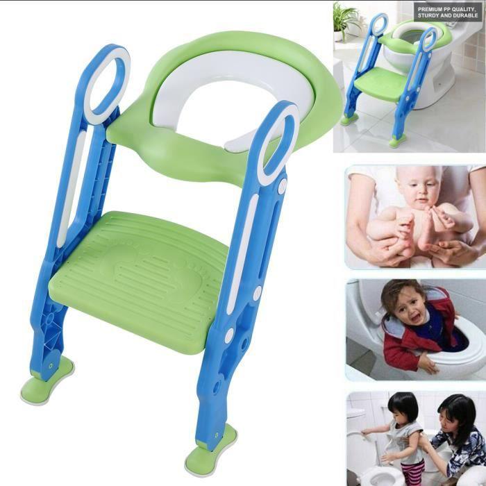 Siège de toilette bébé enfant Réducteur WC échelle Chaise Step Pot éducatif Bleu et vert -HB065