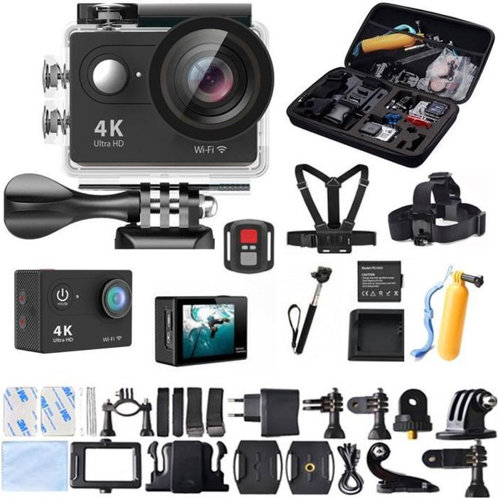 2.0- LCD Ultra HD 4K WiFi 1080P Sport Action pro 30M étanche Caméra 12MP + Sac Chest Strap Accessoires Noir