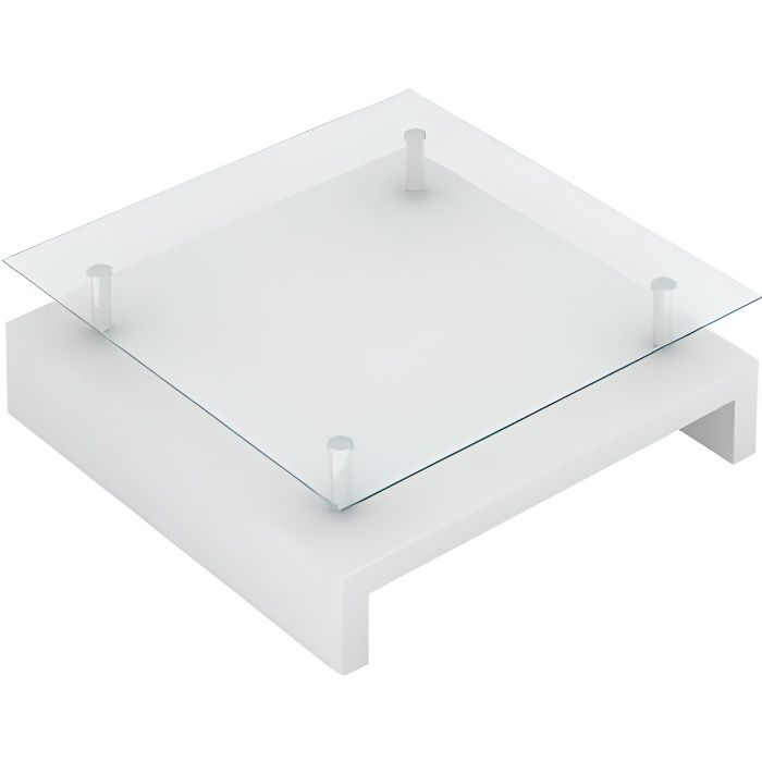 Table basse de salon carrée verre blanc laqué