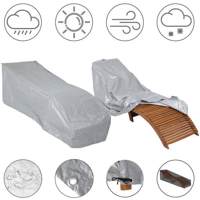 Kingsleeve - Bâche de Protection - Housse pour Chaise Longue/Bain de Soleil • PE résistant aux intempéries • Anti-déchirures • Gris